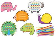 Cartes à tisser animaux terrestres- Set de 6 - Kits activités d'apprentissage - 10doigts.fr