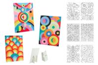 Tableaux sable Art Abstrait - 6 cartes assorties - Sable coloré - 10doigts.fr