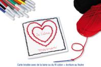 Cartes cœur à broder et à colorier - Set de 6 - Supports à broder - 10doigts.fr