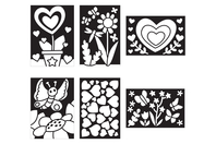 Cartes à métalliser Nature et coeurs - 6 cartes assorties - Kits créatifs en Papier - 10doigts.fr