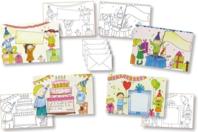 Cartes d'invitation anniversaire à colorier + enveloppes - 4 pièces - Support pré-dessiné - 10doigts.fr