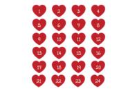 Stickers chiffres cœurs - 24 pièces - Gommettes Alphabet, messages - 10doigts.fr
