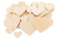 Coeurs en bois naturel - Set de 30 - Motifs brut - 10doigts.fr