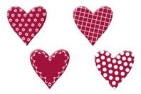 Coeurs fantaisie en bois décoré - Set de 8 - Motifs peints - 10doigts.fr