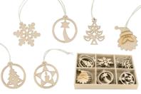 Coffret de motifs de Noël en bois naturel - Set de 18 - Suspension Fantaisie - 10doigts.fr
