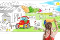 Fresque géante à colorier - La ferme - Supports pré-dessinés - 10doigts.fr