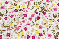 Coupon en coton imprimé : fleurs jaunes et mauves + fond blanc - Coton, lin - 10doigts.fr
