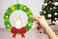 Kit couronne bougie de Noël en carte forte - Kits activités Noël - 10doigts.fr