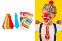 Cravates + gommettes colorées - 6 cravates - Kits activités Carnaval - 10doigts.fr