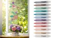 Crayons cire pour décoration des vitres - 12 couleurs - Crayons cire - 10doigts.fr