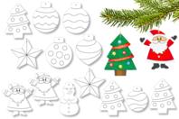 Suspensions de Noël en carte forte - 13 pièces - Coloriages - 10doigts.fr