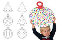 Formes géantes de Noël en carte forte imprimée - 6 décors - Supports de Noël en carton et papier - 10doigts.fr