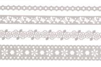Dentelle adhésive en papier - 4 rouleaux Blancs assortis - Adhésifs colorés et Masking tape - 10doigts.fr