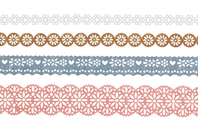 """Dentelle adhésive en papier - 4 rouleaux """"Champêtre"""" - Adhésifs colorés et Masking tape - 10doigts.fr"""