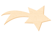 Etoile filante en bois naturel - Motifs bruts - 10doigts.fr