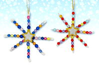 Kit fabrication suspensions Noël en perles - 12 flocons - Activités de Noël en kit - 10doigts.fr