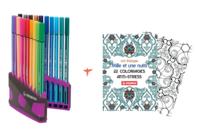 Feutres Stabilo Pen 68 + Cahier coloriage OFFERT - Feutres pointes fines - 10doigts.fr