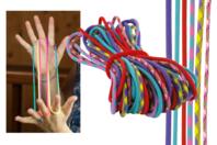 """Jeu de ficelle - 6 cordes couleurs """"FUNNY"""" - Jeu de ficelle - 10doigts.fr"""
