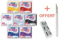 FIMO : Kit de 7 couleurs pailletées + CADEAU - Les kits Fimo - 10doigts.fr