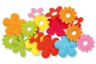 Fleurs en tissu gauffrées -  Set de 16 - Fleurs et feuilles - 10doigts.fr