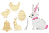 Formes de Pâques en bois - 5 formes gravées - Kits activités Pâques - 10doigts.fr
