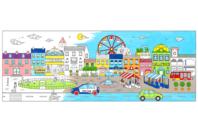 Fresque géante à colorier - La ville - Support pré-dessiné - 10doigts.fr