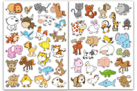 Gommettes animaux rigolos 1 - 2 planches - Gommettes Animaux - 10doigts.fr