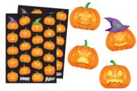 Gommettes Halloween citrouilles - Set de 44 gommettes - Gommettes Halloween - 10doigts.fr