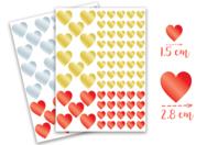 Gommettes coeurs métallisés -  2 planches - Stickers, gommettes coeurs - 10doigts.fr