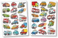 Gommettes voitures et camions - 2 planches - Gommettes Transports et Métiers - 10doigts.fr
