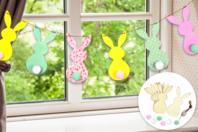 Kit guirlande 6 lapins en bois - Kits activités Pâques - 10doigts.fr