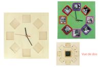 Horloge cadre photos en bois - Horloges - 10doigts.fr