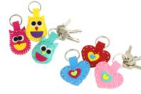 Kit création porte-clés en feutrine - Set de 24 - Feutrine, feutre, toile de jute - 10doigts.fr