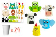 Kit créatif fabrication Gobelets Animaux - 24 gobelets - Kits activités Marionnettes et Pantins - 10doigts.fr