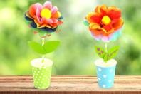 Kit création de fleurs en papier de soie - 12 réalisations - Kits activités clés en main - 10doigts.fr