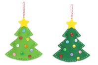 Suspensions sapins en feutrine - Set de 6 - Kits activités Noël - 10doigts.fr