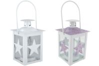 Lanterne étoile en verre et métal blanc - Supports en Métal - 10doigts.fr