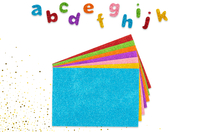 Stickers lettres en caoutchouc pailletté - 950 pièces - Gommettes Alphabet, messages - 10doigts.fr