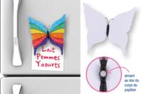 Magnets papillon - Lot de 6 - Support blanc - 10doigts.fr