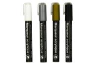 Marqueurs peinture acrylique - Argenté, Doré, Noir et Blanc - Feutres Marqueurs Dessin - 10doigts.fr