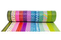 Masking tape à motifs - 12 rouleaux - Adhésifs colorés et Masking tape - 10doigts.fr