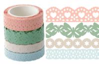 Dentelle adhésive en papier - 4 rouleaux pastel - Adhésifs colorés et Masking tape - 10doigts.fr