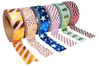 Masking tape à motifs métallisés - 6 rouleaux - Rubans et adhésifs - 10doigts.fr