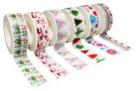 Masking tape Noël - 6 rouleaux assortis - Adhésifs colorés et Masking tape - 10doigts.fr