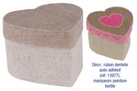 Mini-boîtes coeur en lin - Lot de 4 - Objets pratiques du quotidien - 10doigts.fr
