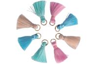 Mini pompons pastel sur anneaux - 8 pièces - Décorations Licorne et Arc-en-ciel - 10doigts.fr