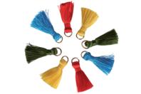 Mini pompons vifs sur anneaux - 8 pièces - Bijoux Indiens Navajos - 10doigts.fr