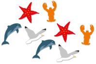 """Motifs """"La mer 1"""" en bois décoré - Set de 8 - Motifs peint - 10doigts.fr"""