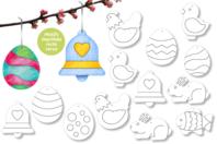 Suspensions de Pâques - 50 motifs à colorier  - Supports pré-dessinés - 10doigts.fr