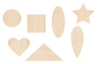 Motifs fantaisie en bois - 70 formes assorties - Motifs bruts - 10doigts.fr